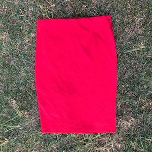 Red pencil skirt mid knee level